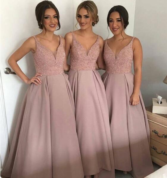 56f9a9f9a vestidos damas de honor Aline glamorous bridesmaid dress 2017 v neck satin  sequins weddig party dress vestido madrinha casamento