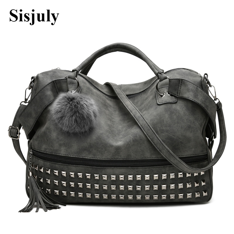 Women's Handbags Leather Rivet Boston Female Shoulder Bags Nubuck Vintage Messenger Bag Motorcycle Crossbody Bags For Women Bag