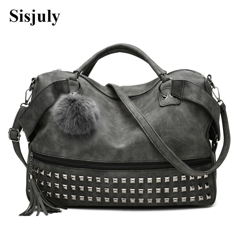 Women's Handbags Leather Rivet Boston Female Shoulder Bags Nubuck Vintage Messenger Bag Motorcycle Crossbody Bags For Women Bag