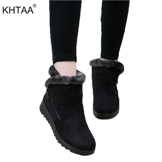 Botas de nieve cálidas de piel corta de felpa de invierno botas de tobillo de talla grande de plataforma de Mujer Zapatos de gamuza con cremallera para mujer envío