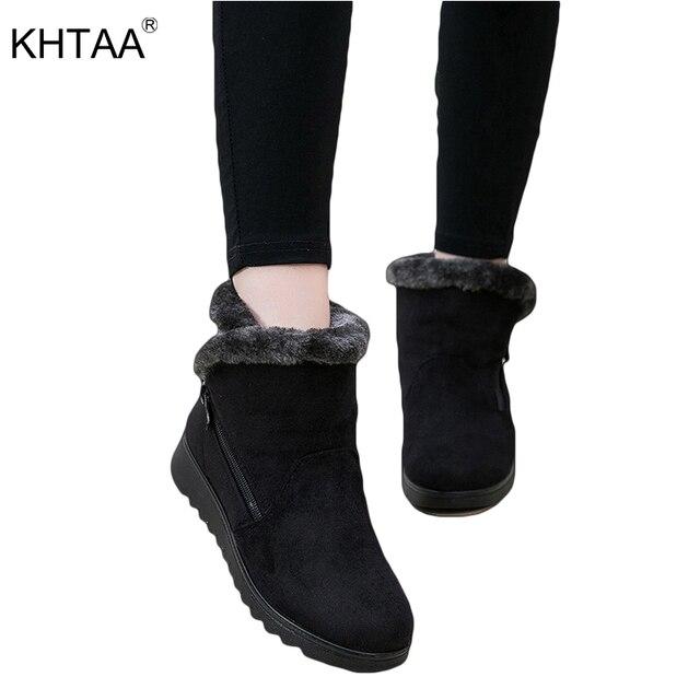Frauen Schnee Stiefel Warm Plüsch Winter Ankle Boot Plus Größe Plattform Damen Wildleder Zip Schuhe Weibliche Komfort Drop verschiffen