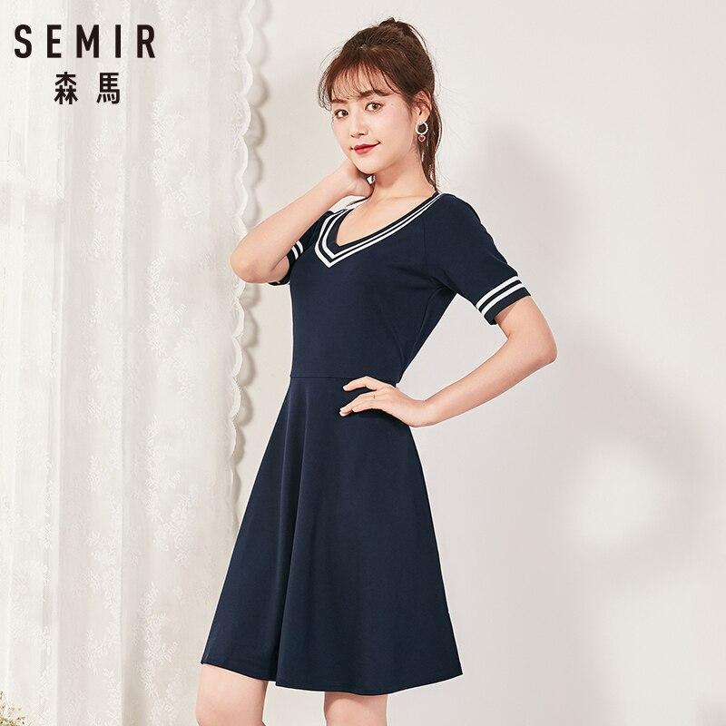 Semir 2018 Sommer Neue Kleid Weibliche Dünne V-ausschnitt Taille Temperament Kleid Student Hit Farbe Plissee Lady Kleid Für Frauen