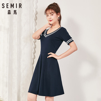 Semir 2018 Summer New Dress Female Slim V neck Waist Temperament Dress Student Hit Color Pleated Lady Dress For Women