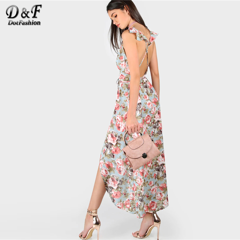 Dotfashion Plunge Rose Print Asymmetric Crisscross Back Dress Women 2019 Summer Vacation Deep V Neck Sleeveless Slip Maxi Dress