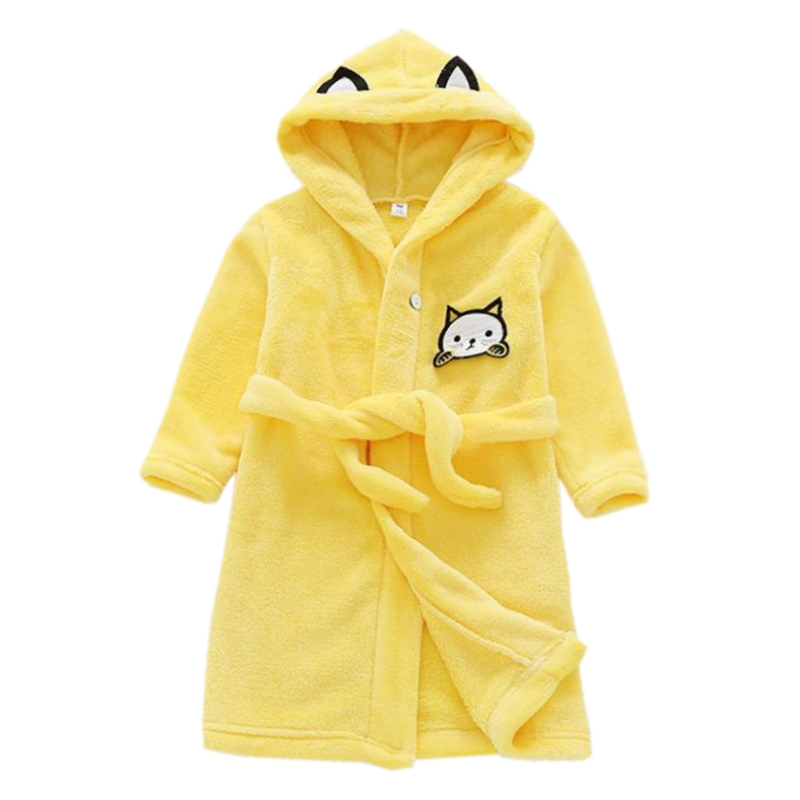 Boys Girls Flannel Bathrobe Hooded Bath Robes Towel Sleepwear Baby Toddler Long Sleeve Kids Pajamas Belt Bathing Robes Jw4144e Preventing Hairs From Graying And Helpful To Retain Complexion