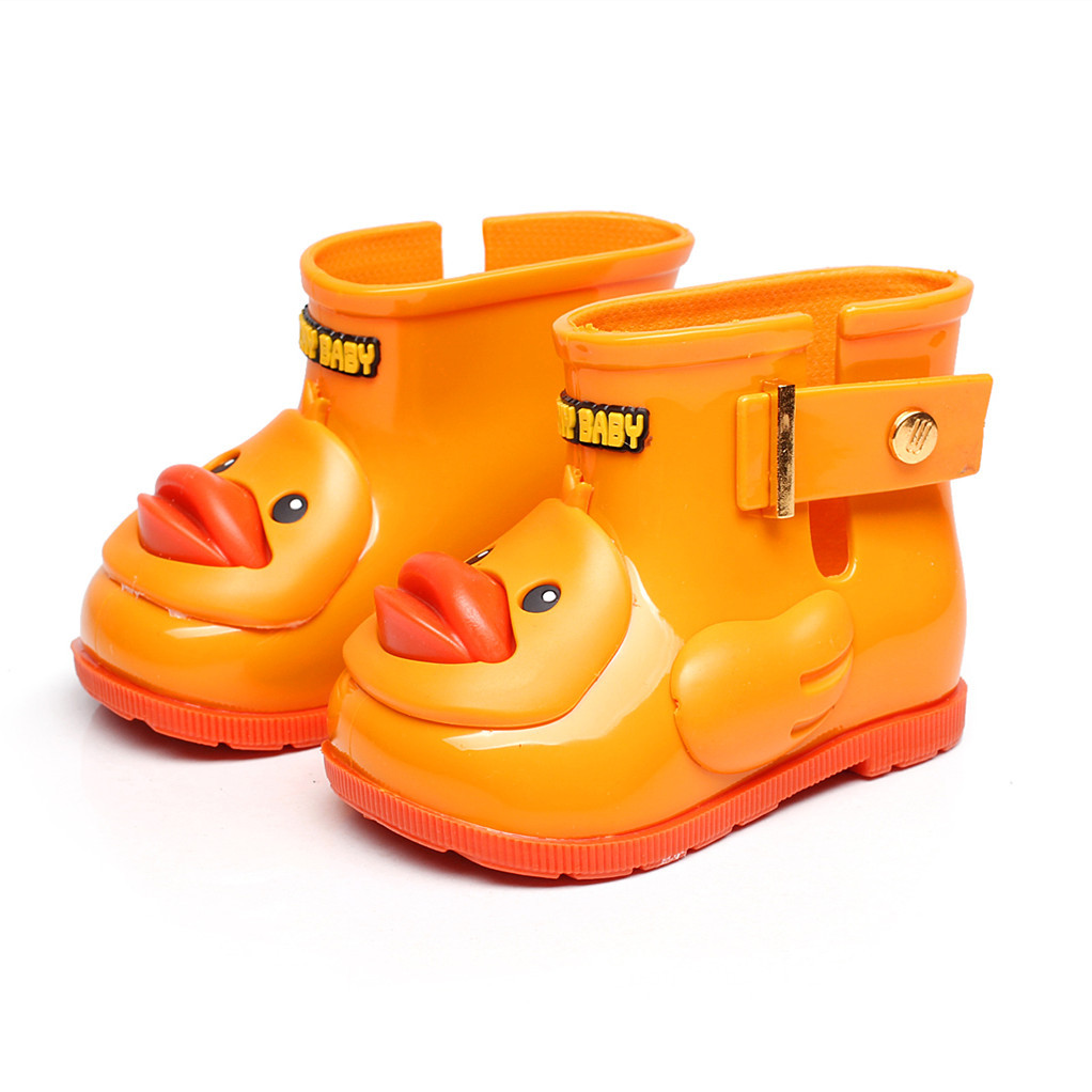 Baby Kids Rain Boots Cute Yellow Duck Rain Shoes Candy Color Boys Girls Rain Boots Soft Sole Jelly Shoes Infant Waterproof Boots