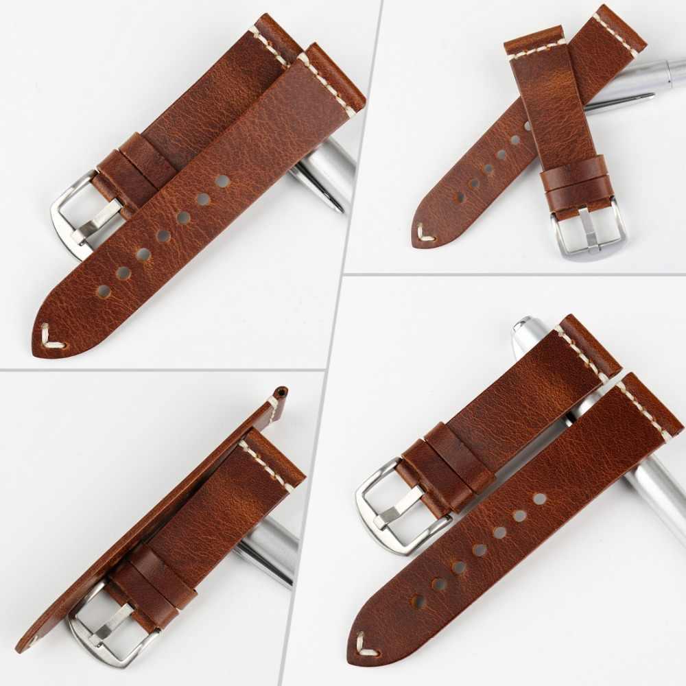 Maikes acessórios do relógio de couro de vaca pulseira de relógio marrom vintage faixa de relógio 20mm 22mm 24mm pulseira para fossil relógio