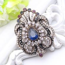 Fashion Women Jewelry Turkish Brooch Blue Crystal Rhinestone Peacock Broches Brooches Ladies Scarf hijab Pins Best Royal Gift