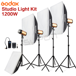 Pro GODOX 1200Ws 4*300Ws 300W 300SDI Studio Strobe Photo Light with Soft Box Light Stand 1200W Kit