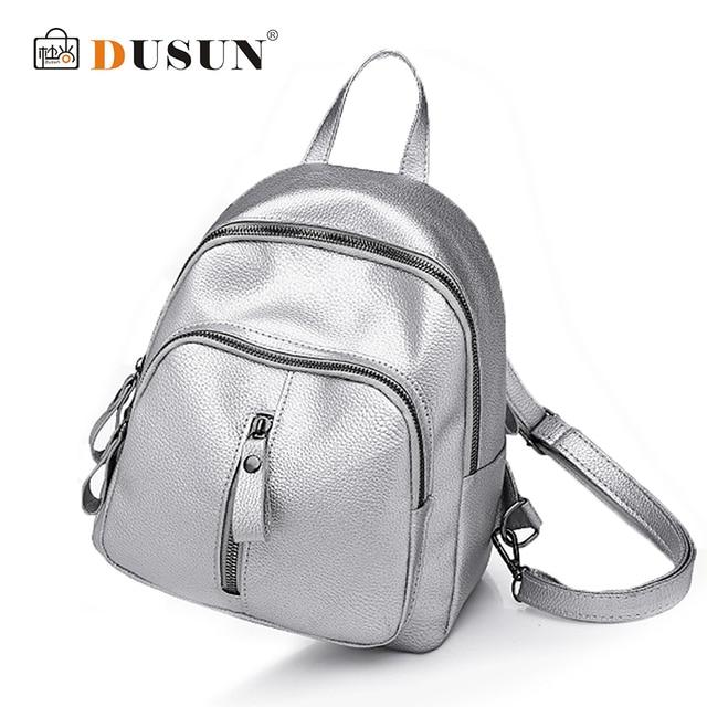 b3ad4b102377 DUSUN Women Backpacks Fashion PU Leather Back packs for Teenage Girl Mini  Daypack Female Zipper School Bag mochila escolar 2018