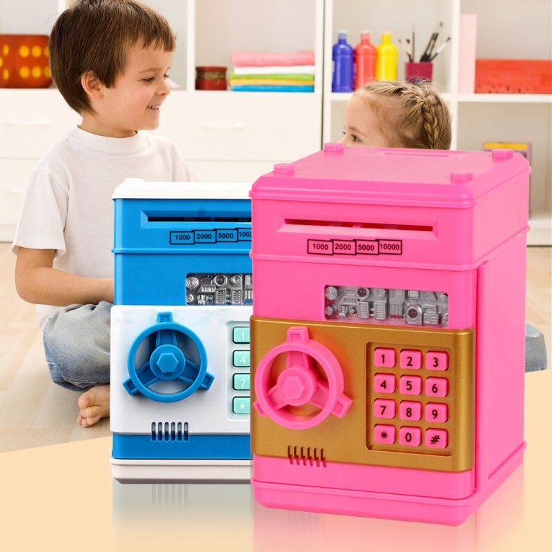 Creative Design Children Safety Electronic Piggy Bank Code Digital Coins Cash Deposit Money Box Secret Mini ATM Machine