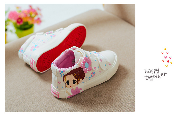 19 Spring Autumn Children Canvas Shoes Girls Fashion Sneakers 3 Colors High Baby Casual Shoes Breathable Princess Shoes 6