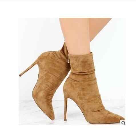 Yeni Moda Kadınlar Streç Ince yarım çizmeler Seksi Moda Elastik Çorap Çizmeler Yüksek Topuklu Kadın Ayakkabı pompaları Bayan Botları