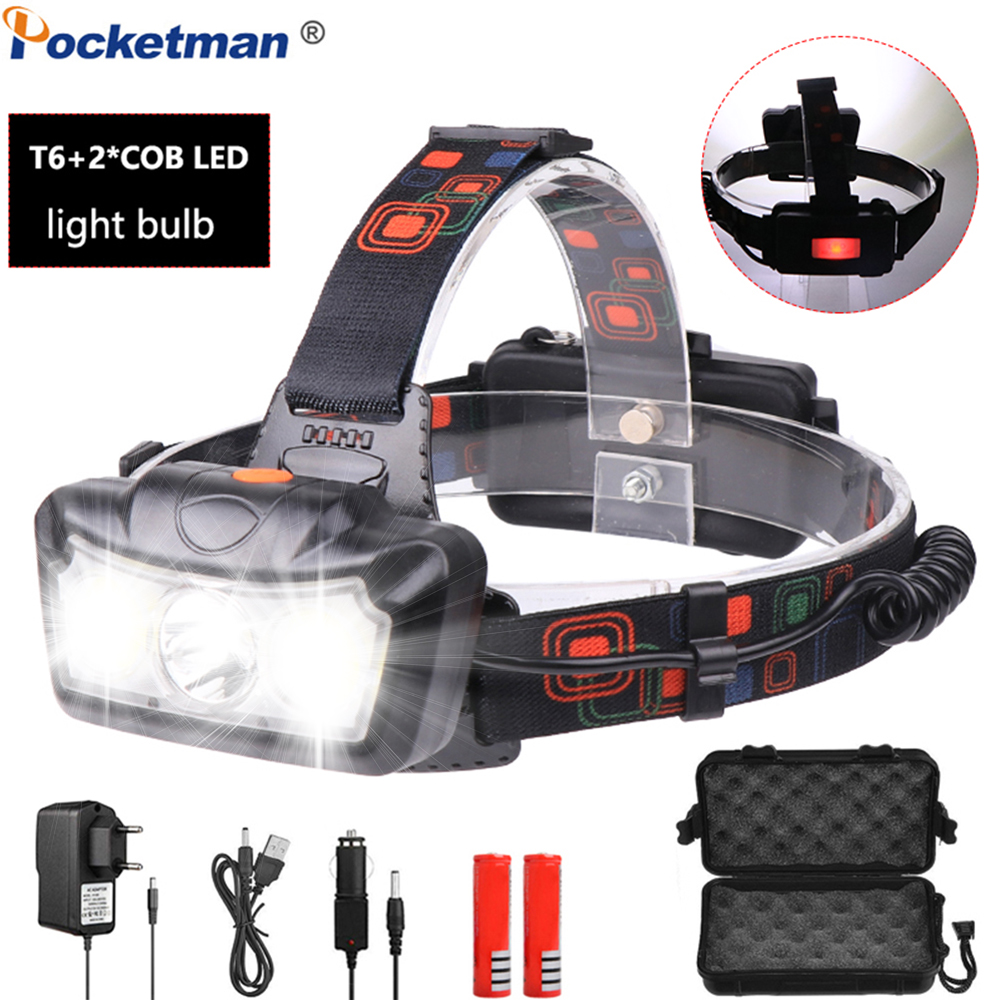 T6+COB LED Headlight Waterproof Headlamp Head Torch Rechargeable With 4 Modes Head Lamp Flashlight Lanterna Head Light