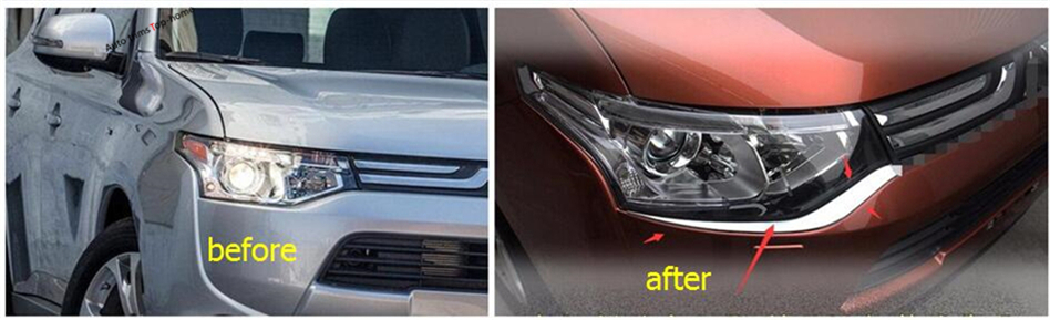 Molding Garnish ! Chrome Front Head Light Lamp Under Eyelid Eyebrow Cover Trim 2 Piece For Mitsubishi Outlander 2013 2014