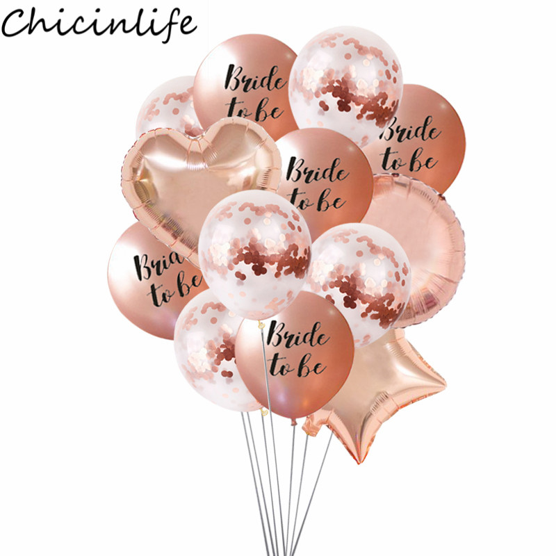 Chicinlife 12inch Rose Gold Theme Bride To Be Latex Balloon Bachelorette Hen Party Bridal Shower Wedding Decoration Supplies