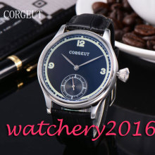 Luxury Corgeut 44mm Black Dial top brand Luxury Stainless Steel case 6498 Hand Winding movement Men