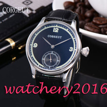 Luxury Corgeut 44mm Black Dial top brand Luxury Stainless Steel case 6498 Hand Winding movement Men's Mechanical Wristwatches