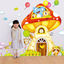 Мультфильм грибы настенные наклейки для детской DIY виниловые обои детская комната Съемный Wall Art домашний декор 2 шт./компл