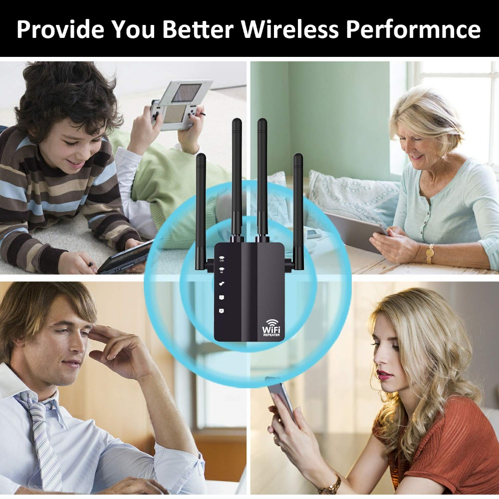 Image 3 - KuWFi 1200Mbps WiFi Repeater with 4 External Antennas, 2 Ethernet Ports, 2.4 & 5GHz Dual Band Signal Booster Full Coverage WiFi-in Wireless Routers from Computer & Office