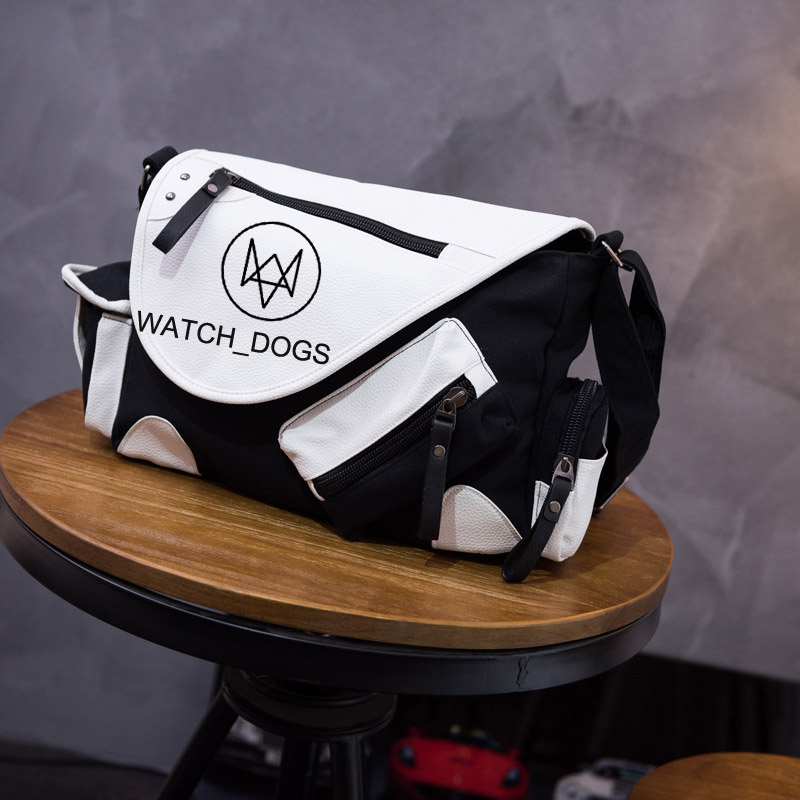 Watch Dogs Game Unisex Casual High Quality Canvas Satchel Messenger Bag for Traveling Camping - Coffee watch dogs aiden pearce cap costume cosplay watch dogs hat high quality baseball cap