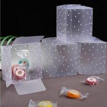 Plástico dot Caixas de Presente Caixa de Doces Caixa de Bolo de Aniversário Favores Do Casamento Saco DO Presente Do PVC Transparente Suprimentos 5*5*5cm 10 pçs/lote