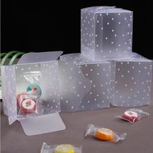 Plastic dot Candy Box Gift Boxes Transparent PVC Gift Bag Wedding Birthday Favors Cake Box Supplies 5*5*5cm 10pcs/lot