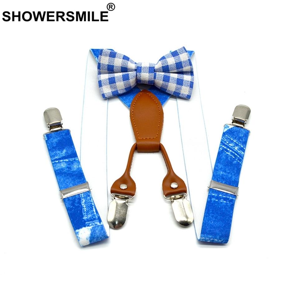 SHOWERSMILE Boys Suspenders Print Denim Blue Braces And Bow Tie Set Children Leather 4 Clips Elastic Adjustable Kid Pants Strap in Suspenders from Mother Kids