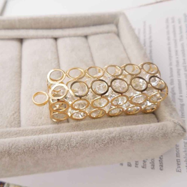 d198f14511 Hollow Rhinestone Gold Pendants Rectangle Round for Necklaces Earrings  Bracelets 56mm(2.204