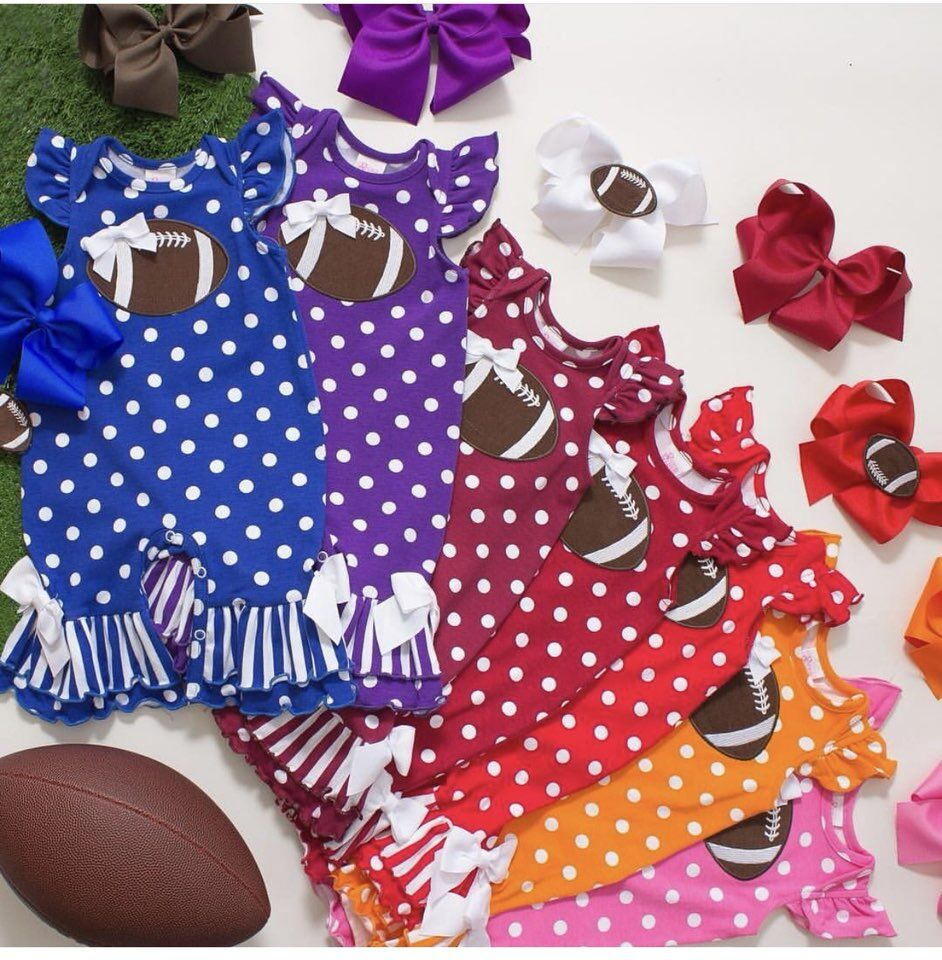 multi color Fall/Winter outfits American football baby toddler tutu infant girls children clothing embroidered polka dot romper spaghetti strap polka dot romper
