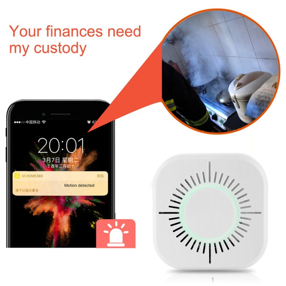 433MHz Wireless Smoke Detector Fire Protection Portable Smoke Detector Wifi Home Safe Security Smoke Alarm Sensor White