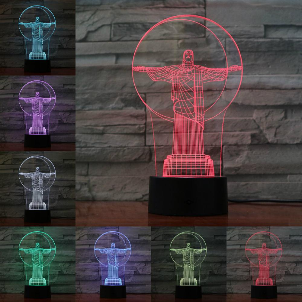 God Jesus 3D Night Light 7 Color Changing Creative Luminous Novelty Gifts White Table Lamp Home Decor Bedroom Sleep Lighting