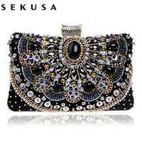 2016 Hot Sale Small Beaded Clutch Purse Elegant Black Evening Bags Wedding Party Clutch Handbag Metal