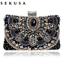 SEKUSA Heißer Verkauf Kleine Perlen Kupplung Geldbörse Elegante Schwarzen Abendtaschen Clutch Hochzeit Handtasche Metallkette Umhängetaschen