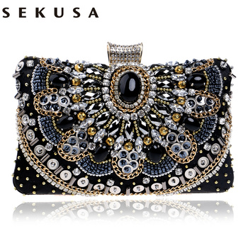 SEKUSA Hot Sale Small Beaded Clutch Purse Elegant Black Evening Bags Wedding Party Clutch Handbag Metal Chain Shoulder Bags sekusa ball diamond tassel women party metal crystal clutches evening wedding bag bridal shoulder handbag wristlets clutch
