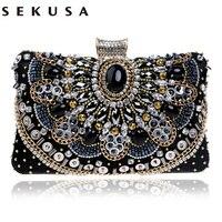 2016 Hot Sale Small Beaded Clutch Purse Elegant Black Evening Bags Wedding Party Clutch Handbag Metal