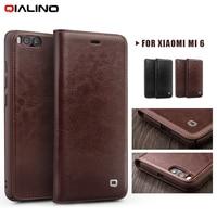 Original QIALINO Cover For Xiomi Mi 6 Fundas For Mi6 Luxury Classic Genuine Cowhide Leather Flip