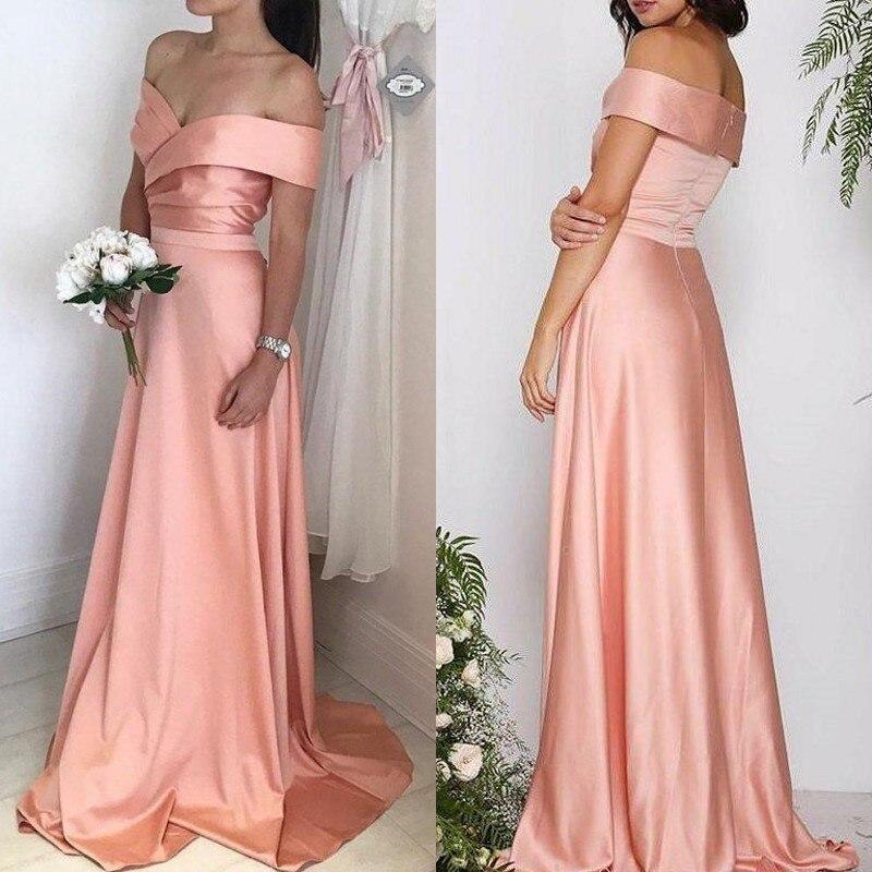 Long   Bridesmaid     Dresses   2019 Elegant A line Off The Shoulder Customize Wedding Party Guest Gown robe demoiselle d'honneur