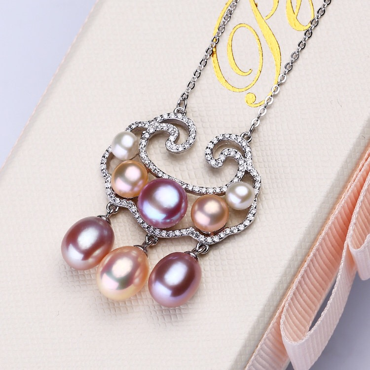 925 Silver Fashion Freshwater Pearl Necklace Chain Unique Designed Hot Gift Beautiful Necklace Jewelry