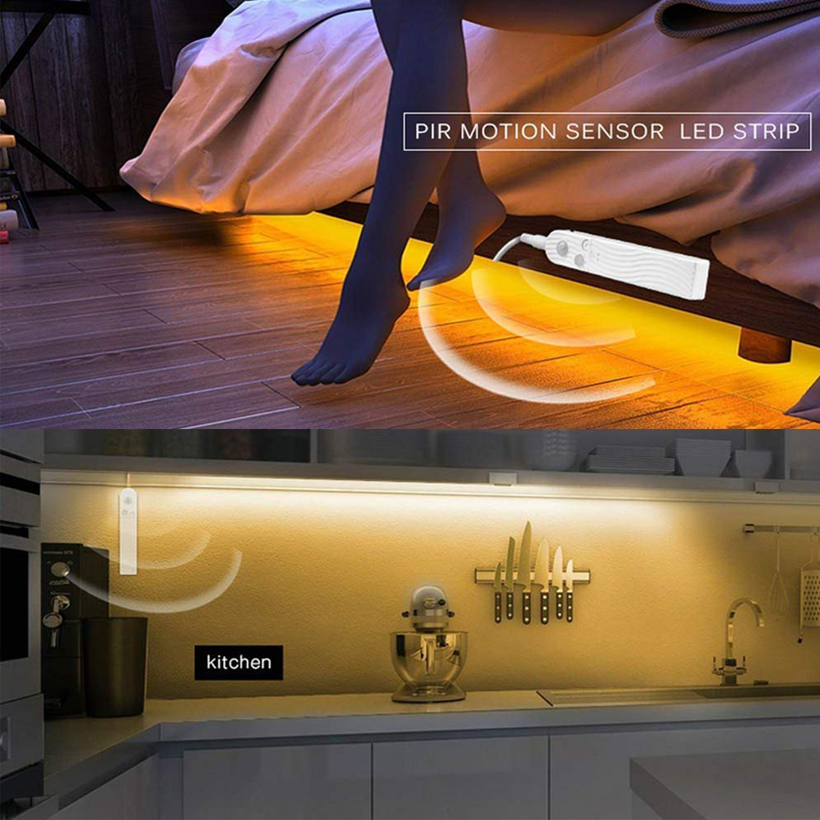 Image 5 - Sensor LED Strip 5V 1M 2M 3M Wireless Indoor Motion Night light Under Bed lamp For Cabinet Stairs Battery and USB powered-in Night Lights from Lights & Lighting