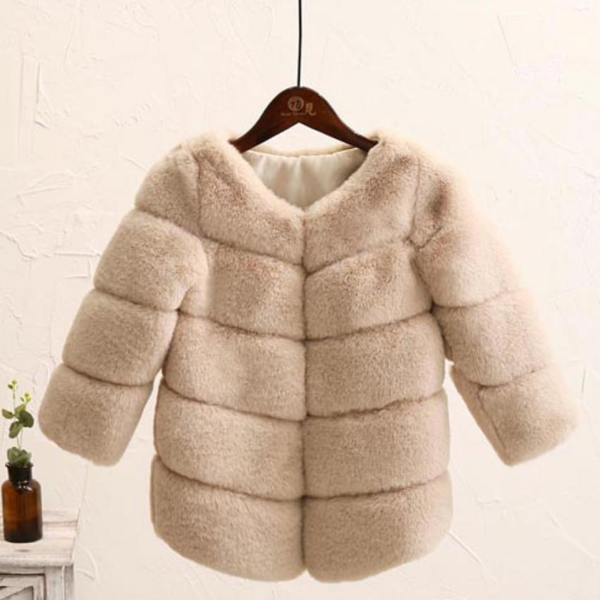 Children Faux Fur Coat Baby Boy Girl Imitation Fur Spliced Outerwear Winter Thicker Warm Jacket Modis Kids Clothes Overcoat Y15