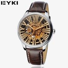 EYKI 2016 Reloj Esqueleto Reloj Mecánico Impermeable de Los Hombres de Negocios de Cuero Genuino de La Manera Del Relogio Reloj masculino EFL8560