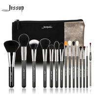 Jessup Brand 15pcs Beauty Makeup Brushes Set Brush Tool Black And Silver T092 Cosmetics Bags Women