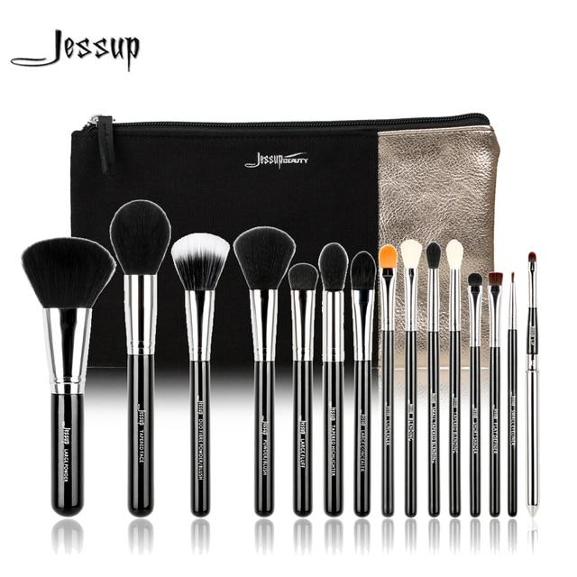 Jessup marca 15 unids t092 belleza pinceles de maquillaje herramienta pincel negro y plata y bolsas de cosméticos mujeres bolsa cb002