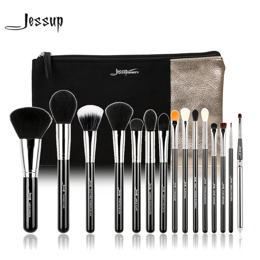 Jessup set 15pcs Makeup Brushes Set Beauty Tools Black/Silver & 1PC Cosmetics Bag Women Bags Make up Brush Powder Lip Eyeliner high quality 12 18 24 pcs toothbrush shape makeup brush set cosmetics makeup make up metal brushes beauty tools powder brush