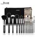 Marca 15 pcs pincéis de maquiagem conjunto de beleza escova jessup ferramenta t092 & sacos cosméticos mulheres saco preto e prata cb002