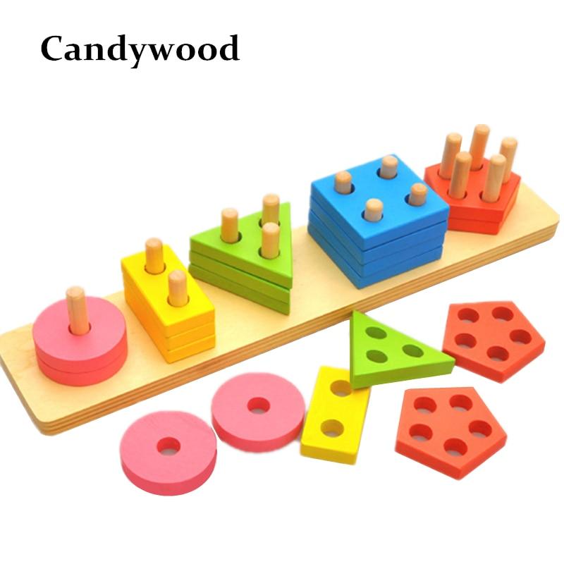 Montessori Παιχνίδια Ξύλινα μπλοκ Γεωμετρία σχήμα μοντέλο κτίριο κιτ Παιδιά εκπαιδευτικό παιχνίδι Ξύλο δομικά στοιχεία
