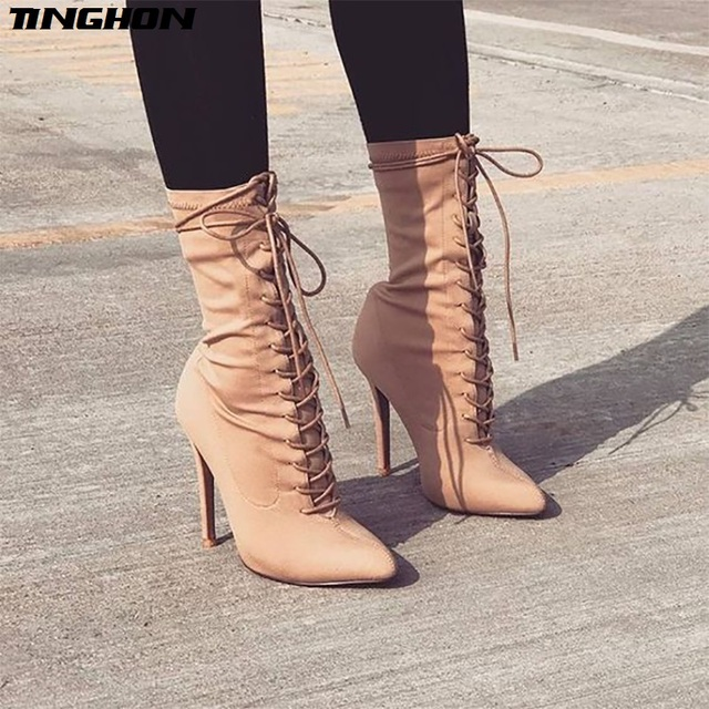 TINGHON New Boots Women 2018 Autumn Fashion Ankle Boots Pointed Toe  Stiletto Heel Shoes Stretch Lace-up High Heel Shoes ab7fa768afa7
