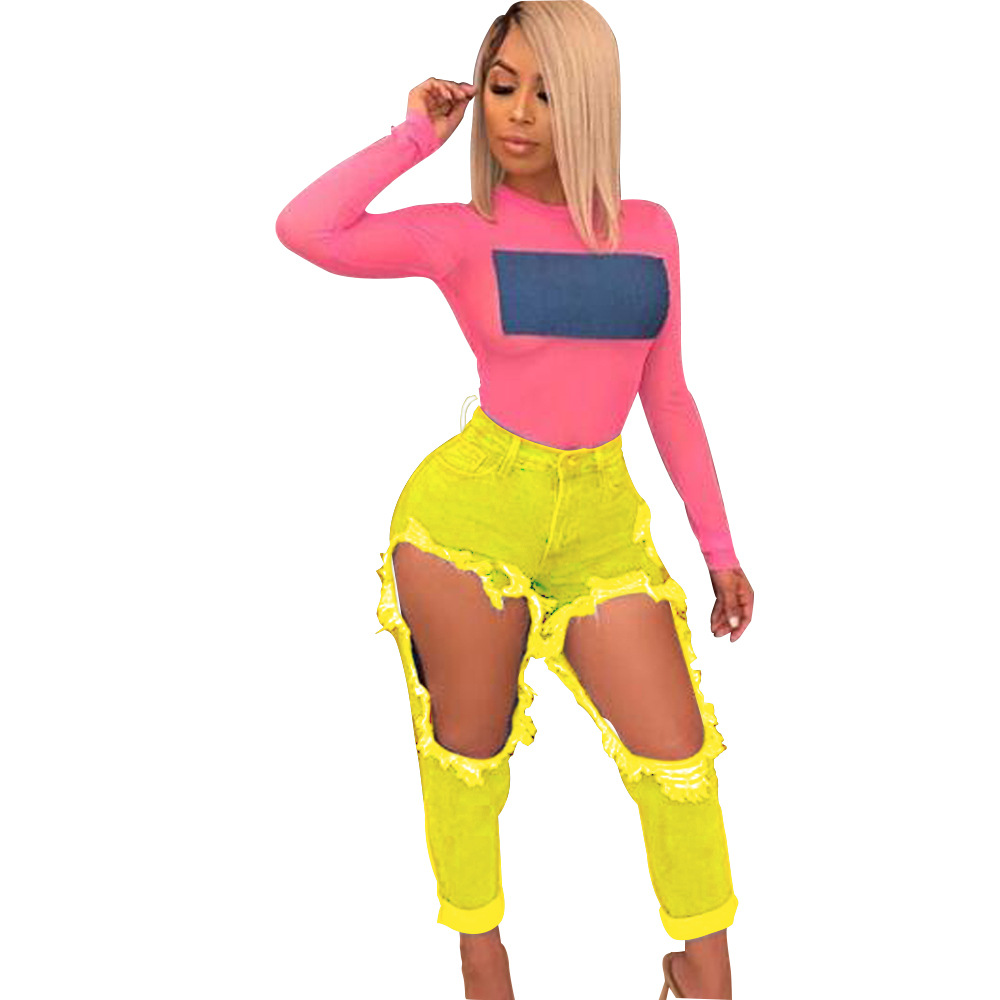 Women's Hole Jeans Summer Sexy Fashion Open Knee-Length Casual Bottom Pocket Female Sports Pants Cargo Demin Trousers