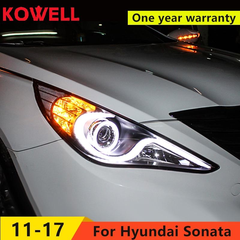 KOWELL Car Styling for Hyundai Sonata Headlights 2011 2014 Sonata 8 LED Headlight DRL Bi Xenon